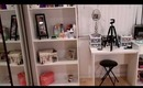 My beauty area! (makeup collection, filming setup & organization)