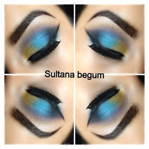 Yellow,blue and black smokey eyes .. Colourful and summery look  Follow my make up on Instagram @sullymalik x