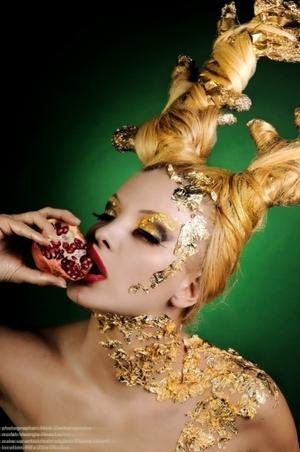 avant garde look, gold foil