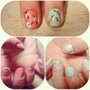 Coral and Mint VINTAGE NAILS.