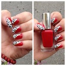 Red animal print nails