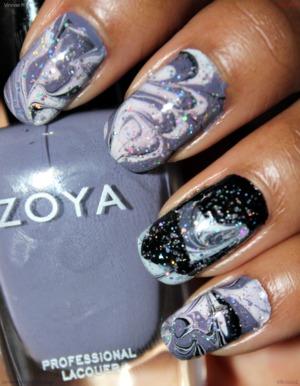 Nail polishes used: Zoya Caitlin, Wet n Wild French White Creme, Wet n Wild Black Creme, & Wet n Wild Kaleidoscope.