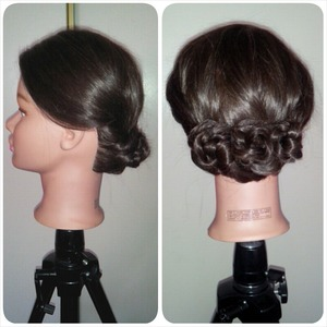 blowout and braided updo for my Gaby dollhead.