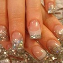 Glitter tips on acrylic nails