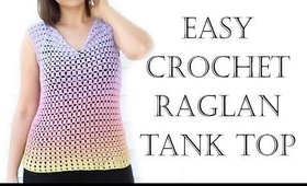 Crochet Easy Raglan Top XS - 2XL