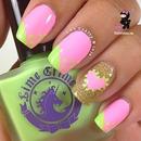 Heart Pink nails