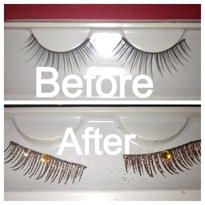 I made these using dollar store lashes and martha stewart craft glitter, then added a gem!