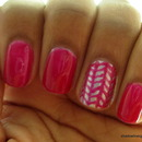 Pink Knit Accent Nail