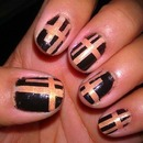 Black And Nude Stripped Nails