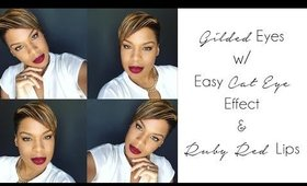 How to Easy Cat Eye Effect & Red Lips Perfect  | Luxe Beauty