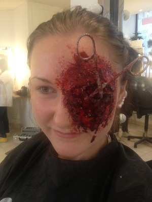Eye poked out with scissors, it's only fake products though! No real blood or cuts