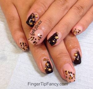 DETAILS HERE: http://fingertipfancy.com/nude-cheetah-black-nails