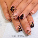 Nude cheetah and black nails