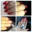 Red with gold glitter