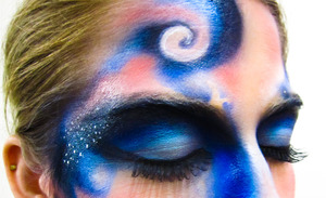 Airbrushed Galaxy makeup application