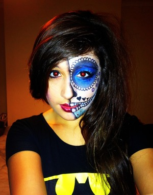 Did this one a while ago, painted on Jordan's face, half face sugar skull, total time about 1hour 30mins.