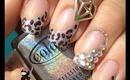 Leopard Sparkle Nails by The Crafty Ninja