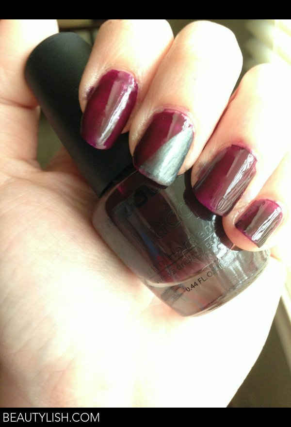 Fall Color Block Nails: Dark Plum and Gunmetal Grey | Faith R.\'s ...