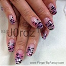 Zebra on pink, silver, and purple nails