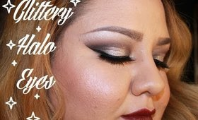 Glittery Halo Eyes and bold lip makeup tutorial