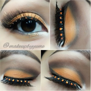 Orange and browns. football cleveland browns inspired makeup.