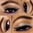 Silver and purple eye makeup