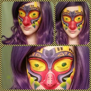 Created Majora's Mask using @SigmaBeauty brushes and @MEHRONmakeupNYC face paint.Tutorial soon www.youtube.com/user/caitlynkreklewich