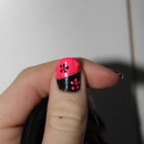 Black and pink flower nails