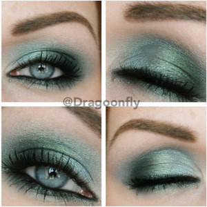 "Using Claudia cosmetics eyedust ""Caribbean turqouise"" + ""tease"" and ""blackout"" from naked palette 2"