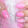 Baby pink with white stripes nail design