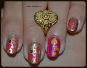 Detail Tutorial http://lovefornailpolish.com/nail-art-tutorial-easy-diy-valentines-day-nails