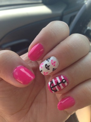 Pink gel anchor nails with mini anchors and stripes
