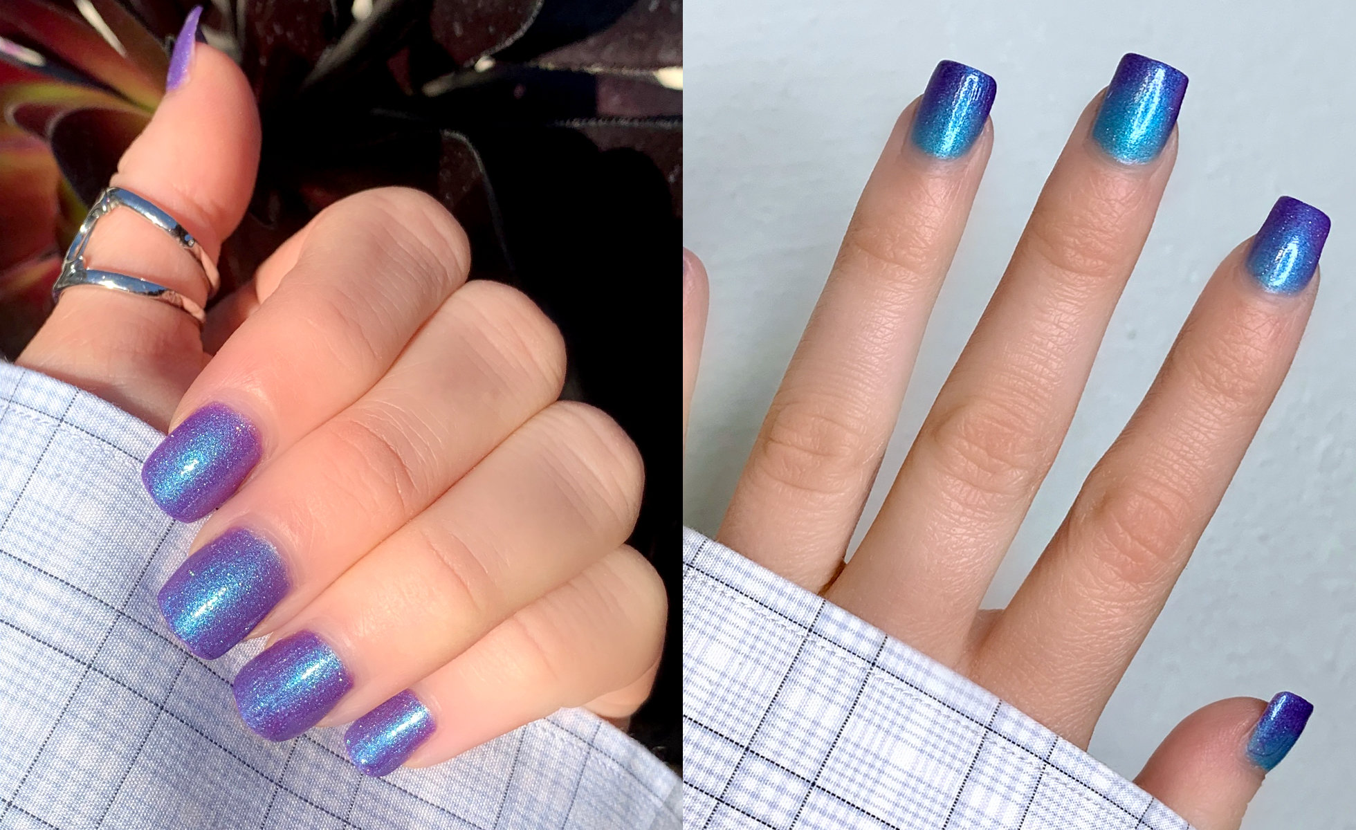 Left: Cirque Colors Thermal Nail Polish in Luna giving off duochrome vibes. Right: Luna colors in transition give off a galaxy-like effect. (Photo: Victoria Vallecorse)