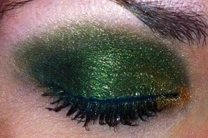 """Used """"Lucky Charm"""" from the Lime Crime Alchemy palette on top of black."""