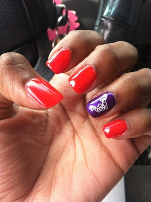 Two of my favorite colors. Shade of red is called Neon Fuschia by Kleancolor. The purple is No Means No buy Pure Ice