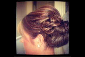 One of three bridesmaids from a recent job, I created this with a clip in hair piece