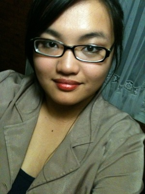 Who knew that Orange-based lipsticks could work for my type of skin? It just blends beautifully, and I even topped everything off with dramatic eyeliner and shimmery pink blush. A nice formal look with glasses. :D