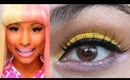 Nicki Minaj Super Bass Makeup Tutorial Yellow/Pink Eyeshadow (Super Easy)
