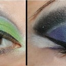 Green and blue makeup