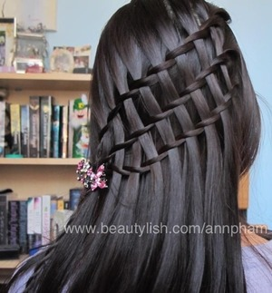 A two strand waterfall braid 3x !