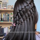 Two-strand waterfall braid