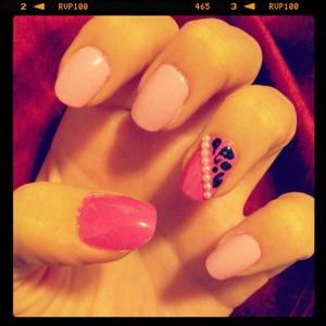 Pink Cheetah nails with pearls :)