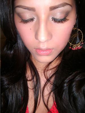 Eye Shadows:   Inner - Revlon (Diamond Lust) 605 Grab me Gold  Center - Mica Bella Cosmetics (Shimmer Powder) 28 Rendevous  Outer - N.Y.C. (Eye Shadow Trio) 856A NightLife  Brown/Highlight - N.Y.C. Individual Eyes (Custom Compact) 939U Bryant Park