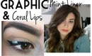Mint Graphic Eyes And Coral Lips Makeup Tutorial