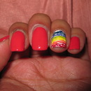 Coral with Rainbow 3D Accent