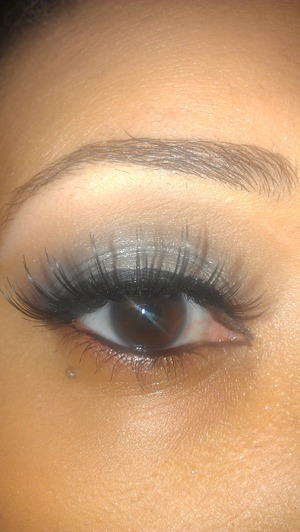 silver Smokey eye with falsies