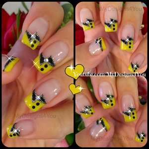 Fun, Black and Yellow French Tip Nail Art https://www.youtube.com/watch?v=xqKr7dcVuWg
