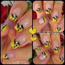 Fun, Black and Yellow French Tip Nail Art
