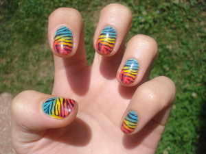 Colourful zebra. Made with the Konad plates.