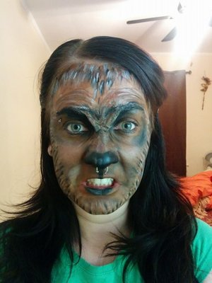 Pre-Halloween run through.  No fur , contacts or teeth...yet.  But the general rough out of the brow to nasal details.  Used: - Modeling Wax - Liquid lated - Paradise paints (brown, white, black) - Party store paint - not sure the brand (red/brown) - Dark brown foundation (covergirl)